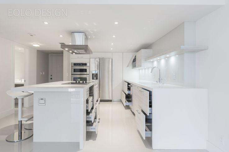 Condo Modern Interior Design L Shaped Kitchen With Island