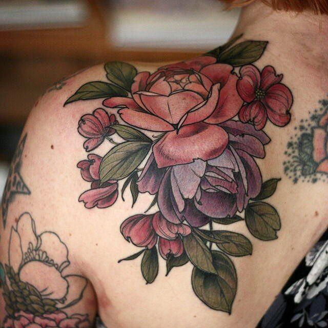 "427 Likes, 2 Comments - Wonderland Tattoo (@wonderlandpdx) on Instagram: ""#roses and #dogwood by Alice Carrier @alicerules #botanicaltattoo #wonderlandpdx"""