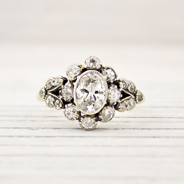 Vintage filigree diamond engagement ring with Erstwhile Jewelry & The Frosted Petticoat