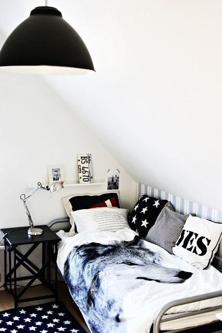 black and white teen room