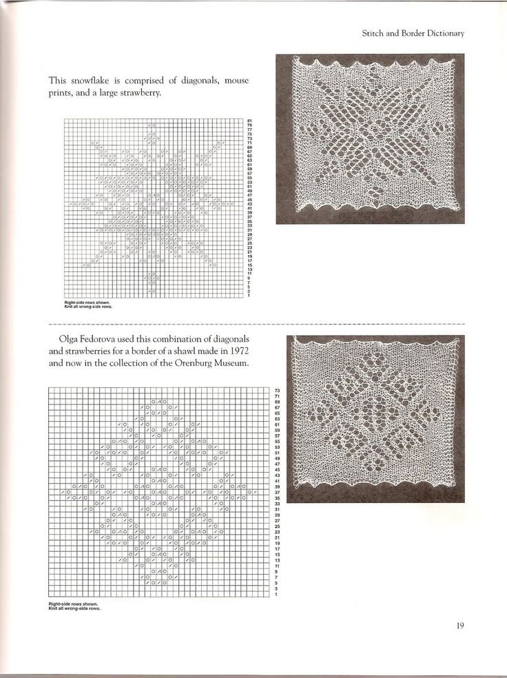 Snowflake (diagonals, mouse prints, large strawberry); diagonals and strawberry. Orenburg Lace Knitting. Gossamer Webs ~~ _19_.jpg