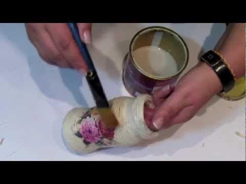 ▶ Tutorial decoupage - pojemnik na ołówki ze sznurka - YouTube