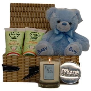 A beautiful and practical gift basket for the proud parents of a new born baby boy. This baby gift basket is presented in a lovely Willow Effect Cardboard Gift Box.