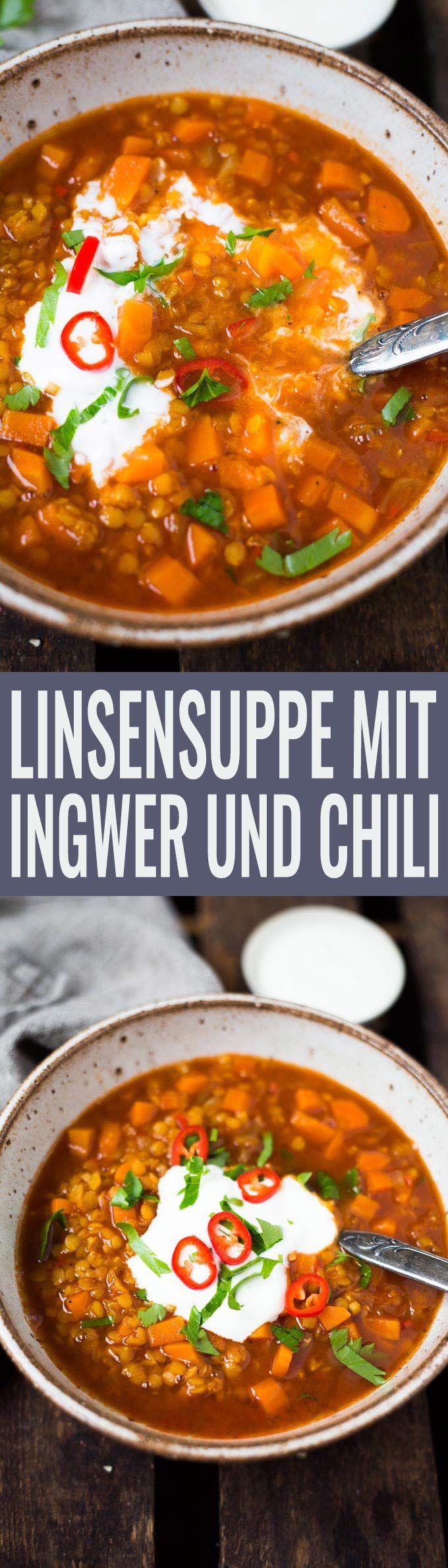 Linsensuppe mit Ingwer und Chili - super schnell und einfach! Dieses vegane Rezept ist der Hit - Kochkarussell.com (Vegan Curry Soup)