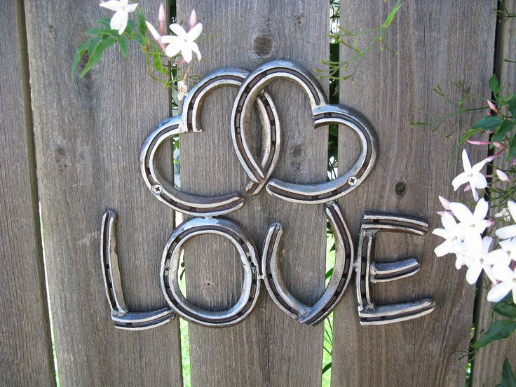 Two Hearts as One Love Recycled Horseshoe Sign Clear by willcapps, $35.00