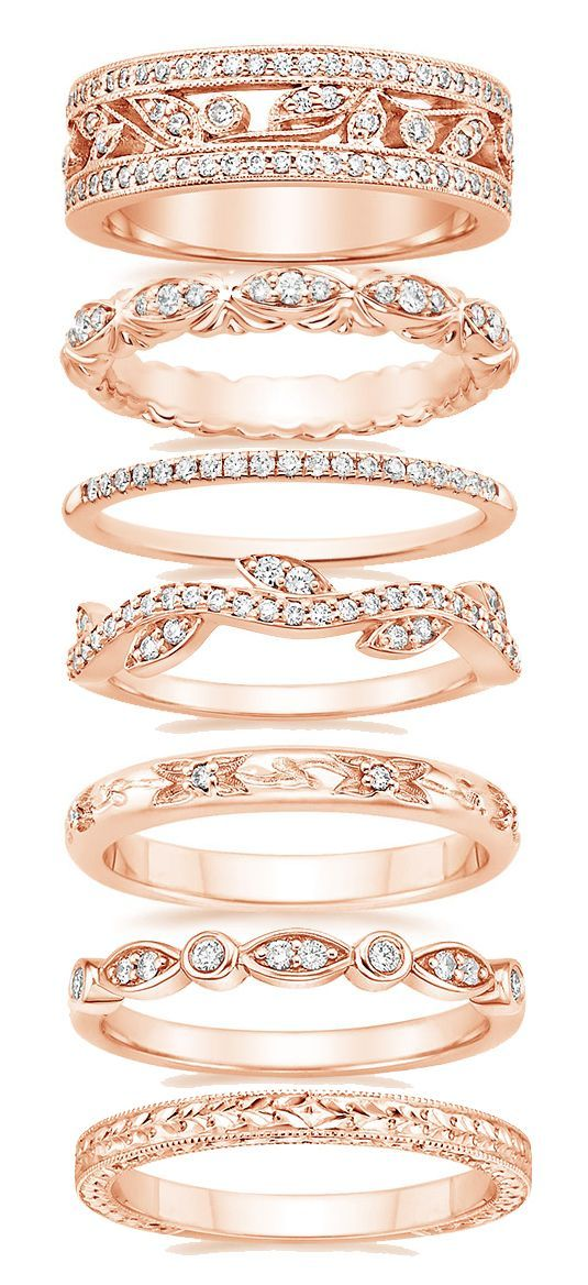 beautiful and intricate Rose gold wedding bands