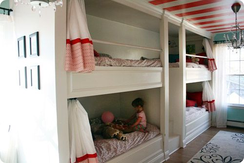 Love the striped ceiling and chandelier: Bunk Beds, Bunk Rooms, Beaches Houses, Bunkroom, 4 Kids, Stripes Ceilings, Girls Rooms, Built In Bunk, Kids Rooms