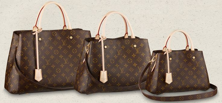"Louis Vuitton Monogram Montaigne - Size BB (11.4"" x 7.9"" x 5.1"" US$2130).  Size MM (13"" x 9.1"" x 5.9"" US$2270).  Size GM (15.4"" x 11"" x 6.3"" US$2420).  January 2014"