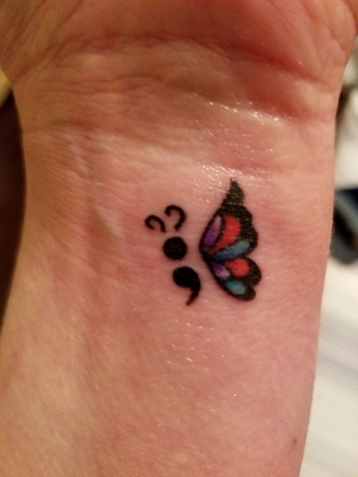 Semi colon butterfly tattoo