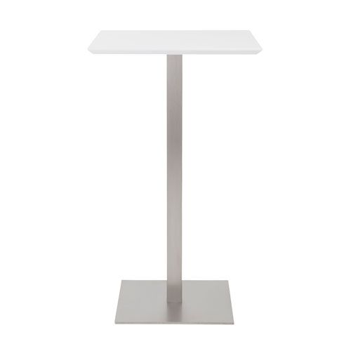 Elodie Bar Table in Matte White with Brushed Stainless Steel Base and Column