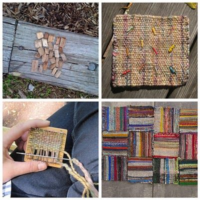 Weaving on a little square loom by Jaime Rugh. post was made on april 7, blog is made in such a way you can not pin particular post, so you have to look for it