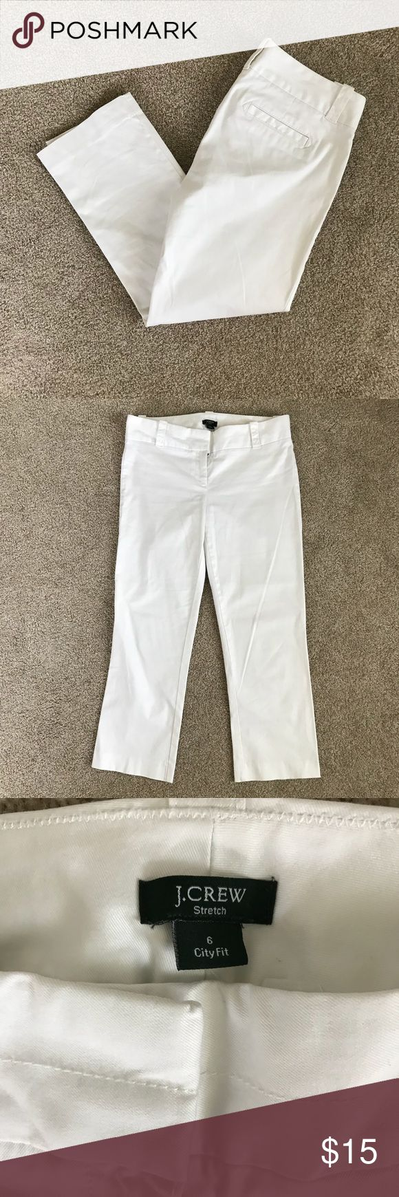 """J. Crew City Fit White Cropped Pants Excellent used condition J. Crew City Fit white, Crop Pants in women's size 6  Approx. Measurements...  Waist - 34""""  inseam - 22""""  rise - 8""""  All reasonable offers will be considered. J. Crew Pants Ankle & Cropped"""