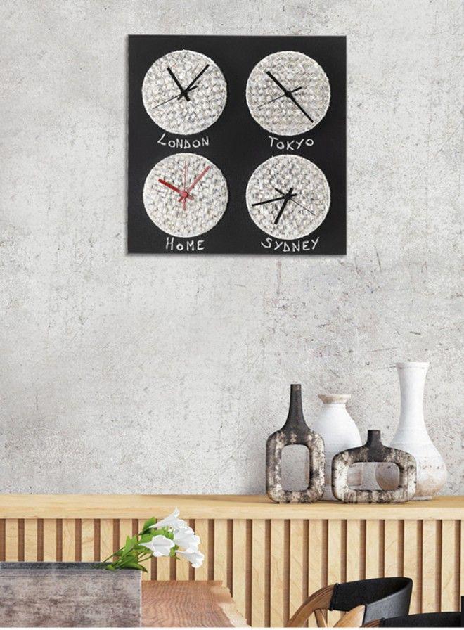 P3632 - Crono di PINTDECOR cm 40x40   Quattro elementi in ceramica composita, decorato a mano con foglia argento, fondo nero su struttura telata.  #orologio #p3632 #crono #pintdecor #quadro #foglia #argento