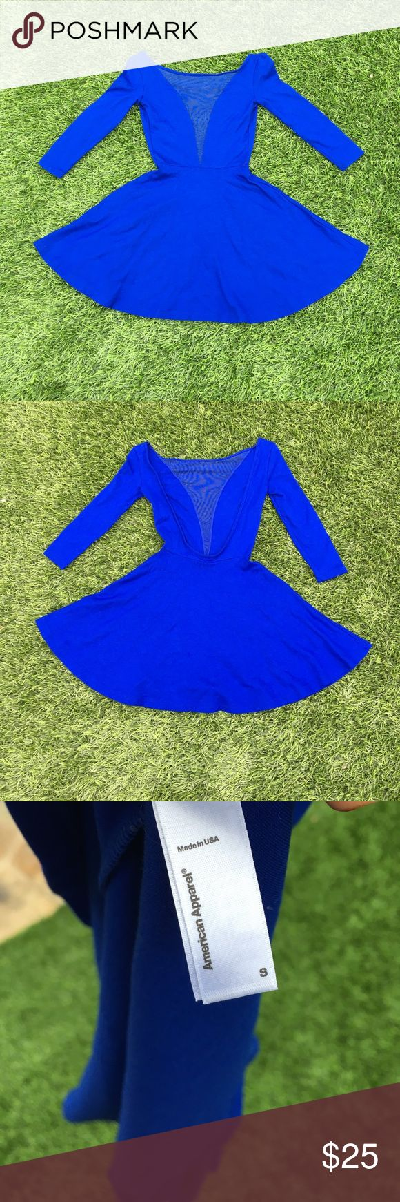 American Apparel dress American Apparel small skater dress with sheer detail in front and completely backless , 3/4 sleeve ,  royal blue American Apparel Dresses Backless