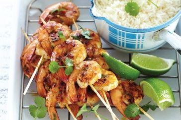 Coconut, lime and chilli barbecued prawns
