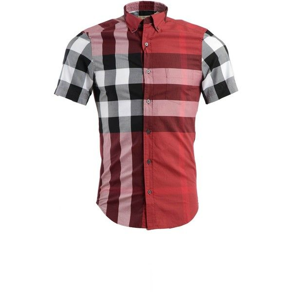 Burberry Shirts ($230) ❤ liked on Polyvore featuring men's fashion, men's clothing, men's shirts, men's casual shirts, red, mens french cuff shirts, mens casual short-sleeve button-down shirts, burberry mens shirts, mens red button down shirt and mens pocket t shirts