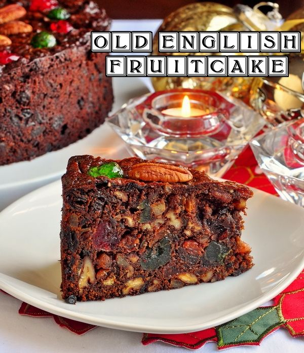 Old English Dark Fruit Cake - a decades old recipe for a moist, rich, dark fruit cake chock full of dried fruit and crunchy pecans. A holiday must-have.