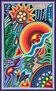This beautiful, one-of-a-kind yarn painting was made by pressing thin strands of acrylic yarn into natural beeswax spread over a wooden board.  Yarn art is made in limited quantities by the Huichol and Tepehuano Indians of southwestern Mexico.  On the back of each painting is a description of the work, written in Spanish by artist Felix Bautista Ramos.