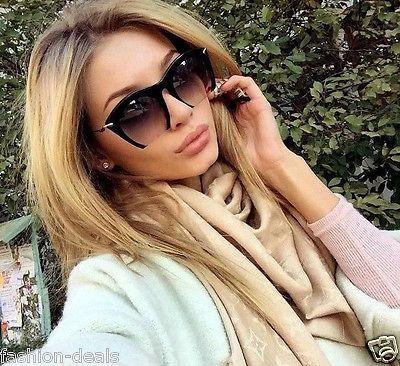 """RAZOR"" Semi Rimless Black Gradient Cut Off Lenses Oversized Women Sunglasses – Boho Marché"