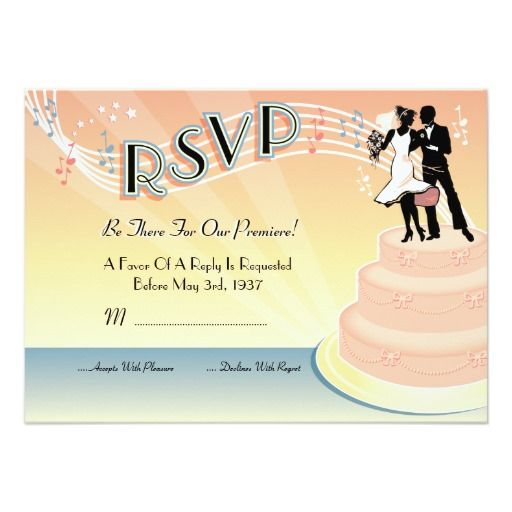 Old Hollywood Musical Wedding RSVP Cards