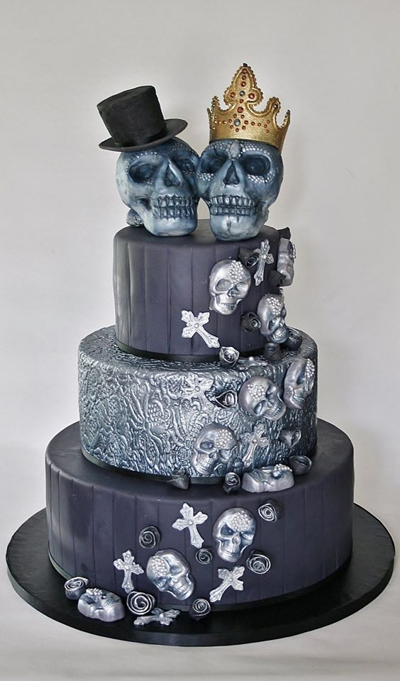 Skull cakes and Rocker wedding