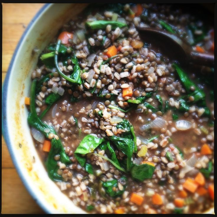 a simple meal of lentils, farro & spinach | My recipes ...