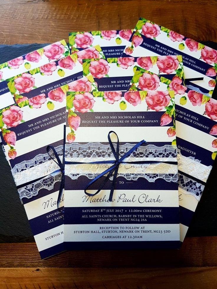 Wedding stationary  Navy stripe Pink roses Lace Ribbon Wedding invite