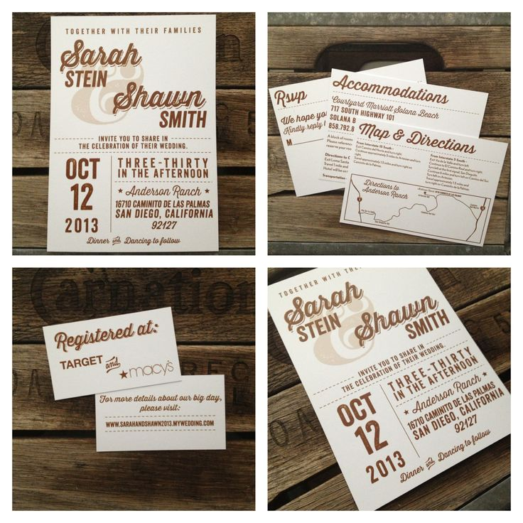 Rustic Wedding Invitations by Metal Doily Press