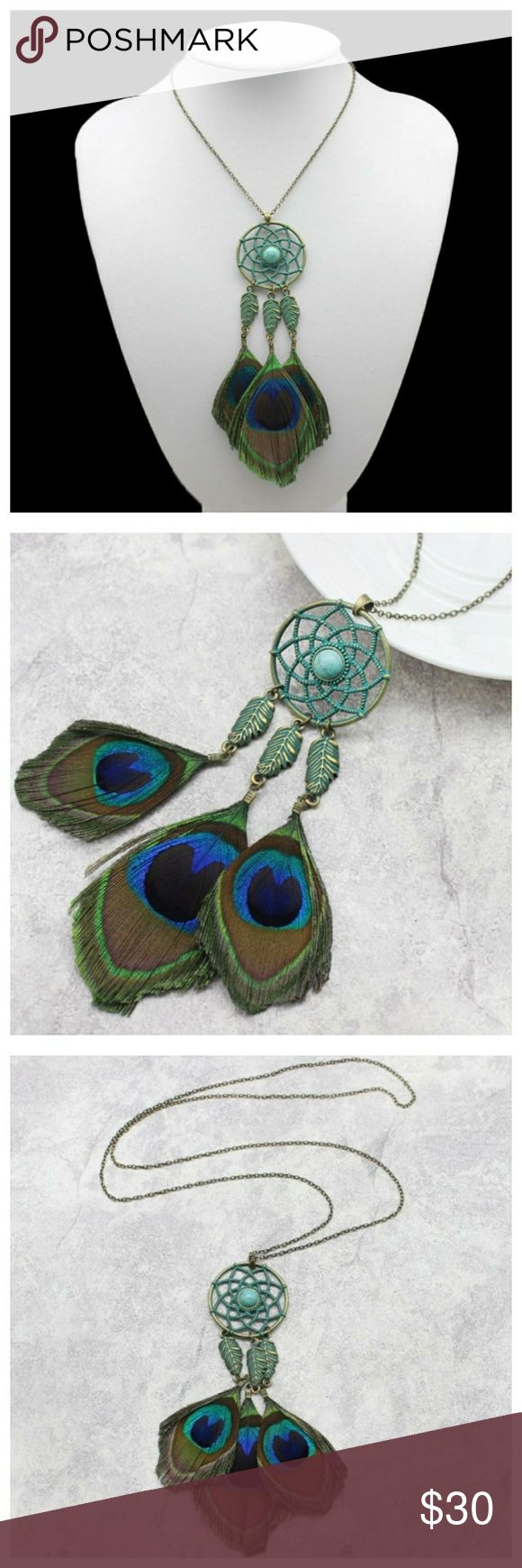 """🆕️ Genuine Peacock Feather Necklace Beautiful patina finish dreamcatcher with 3 dangling Peacock feathers. Lead and Nickel free! Chain length is 29.5"""". Jewelry Necklaces"""
