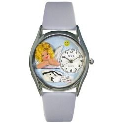 Cheap Whimsical Watches Nurse Angel Baby Blue Leather And Silvertone Watch online - This is the smaller version of our Whimsical Nurse Angel Watch. It features hand-crafted miniatures of an Angel and Nurse Hat. Makes a great Nurse appreciation...