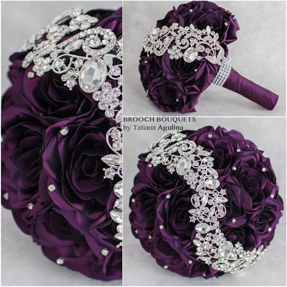 Wedding Purple bouquet Jeweled Bouquet. Purple by TatyanaAgulina