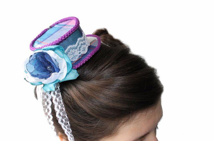 Hüte - Mini-Hütchen Zylinder Blau-Lila-kariert - ein Designerstück von centipede bei DaWanda