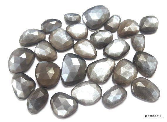 10 pieces natural gray moonstone rose cut oval shape genstone