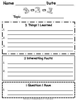 FREE: 3-2-1 Reading Strategy--Great to use for when you are using a science or history video.