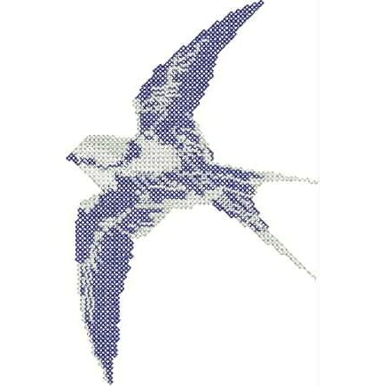 White-Backed Swallow in Flight in Cross Stitch Embroidery, cross-stitch-white-backed-swallow