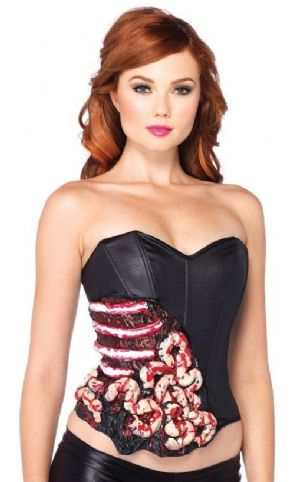 FANCY DRESS ZOMBIE CORSET - BLOOD AND GUTS CORSET TOP WITH BONING - LADIES SCARY HALLOWEEN OUTFIT / COSTUME