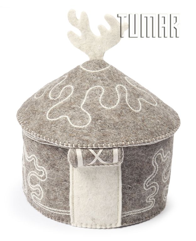 "Container ""Yurt"". Felt - 100% wool. Machine assembly, hand embroidery. Color: natural dark. Christmas collection 2016. Tumar Art Group."
