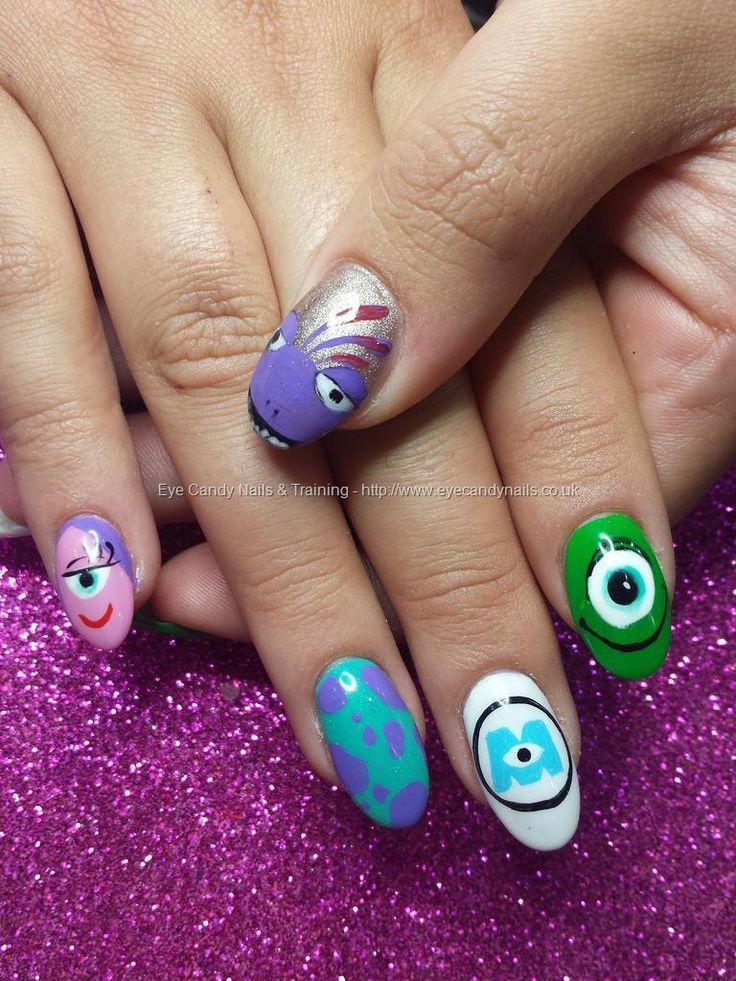 Pixar disney monsters inc freehand nail art