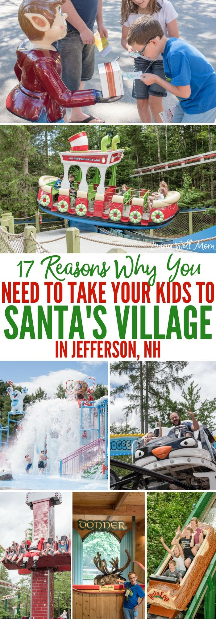 17 Reasons Why You Need to Take Your Family to Santa's Village in Jefferson, NH - from meeting Santa himself to feeding his reindeer, fun roller coasters and an awesome watermark, Santa's Village is an amazing family attraction the whole family will love! (sponsored)