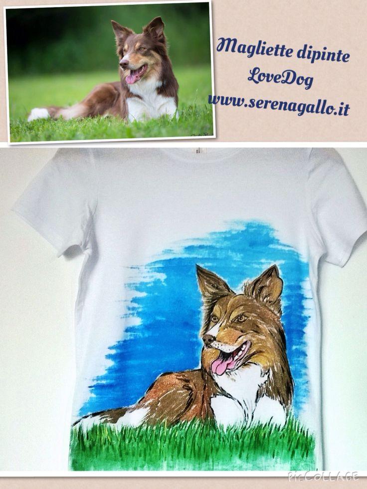 T-shirt dipinta a mano con ritratto canino