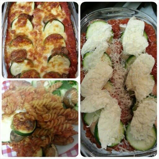 Pasta schotel, met courgette, kastanje champignons, parmezaanse kaas en mozzarella