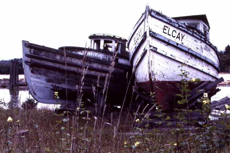 Old Boats, North Arm Fraser River, Richmond, BC, CA, c.1980
