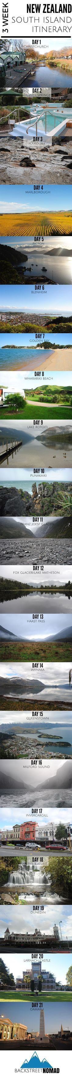 3 week New Zealand south island itinerary infographic. Click to see the itinerary in full detail.