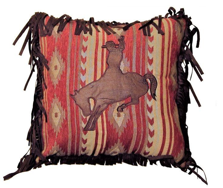 Navajo Bronc Southwestern Throw Pillow w/ Fringe