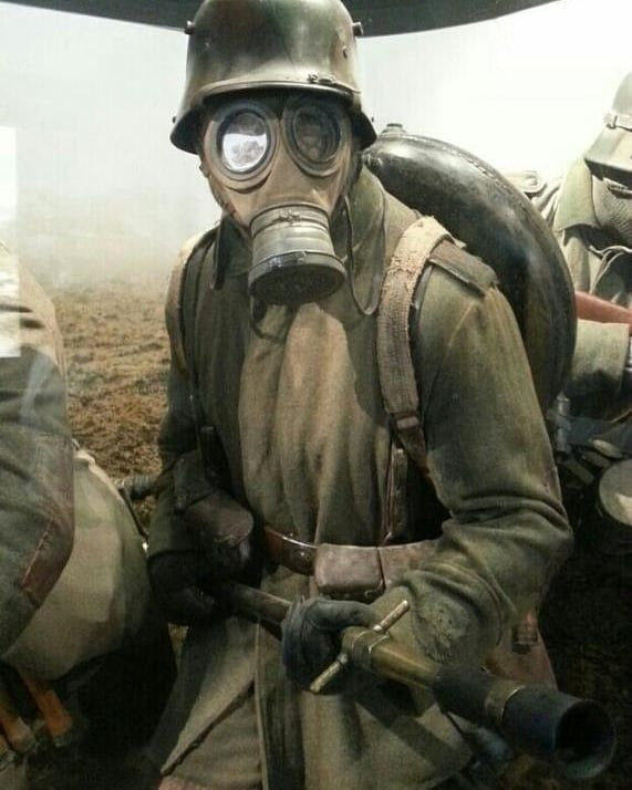 This is a ww1 German solider with a wex or flamethrower