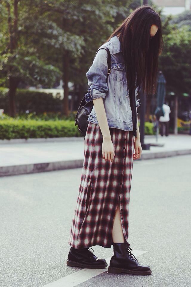 Oversized Denim Jacket X Plaid Maxi Skirt(all buttoned) X DocMartens X Leather Backpack