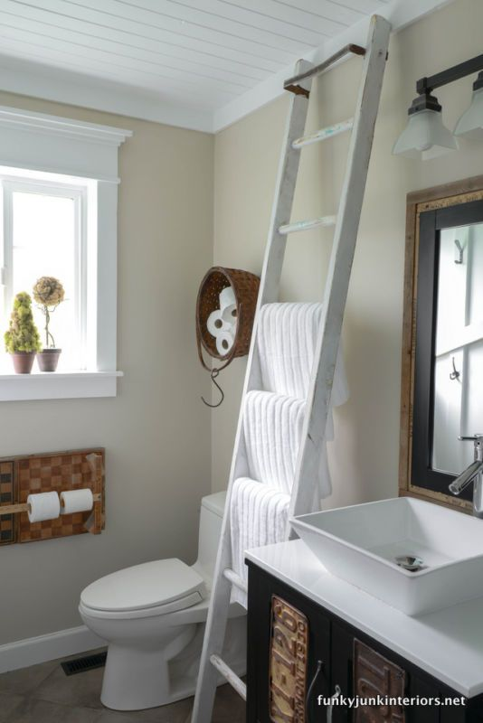 Add A Rustic Painteru0027s Ladder For An Instant Towel Holder. By Funky Junk  Interiors,