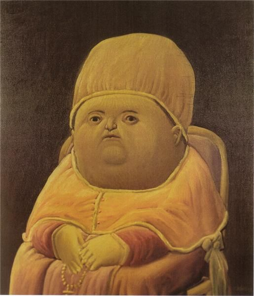 Pope Leo X (after Raphael), 1964 by Fernando Botero. Naïve Art (Primitivism). portrait. Botero is a Colombian painter famous for painting every man, woman, child, animal, and object voluptuously. This is sometimes a form of political commentary and sometimes a form of humor. (The Y Tho meme)
