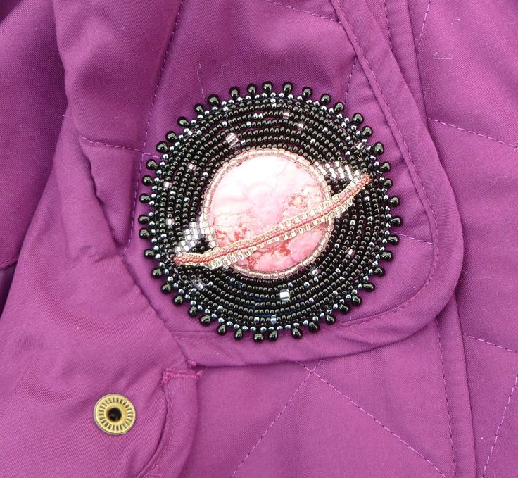 Out Of This World... planet beaded brooch
