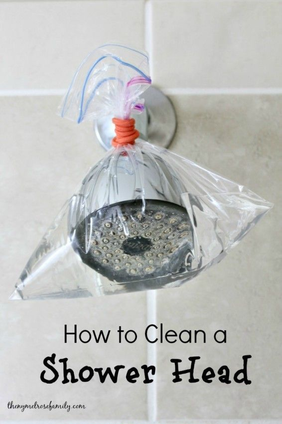 If the water in your shower is spraying out in all directions, it's probably time to give it a deep clean. Mix a solution of equal parts vinegar and water, then pour it into a plastic bag and wrap it around your water source (as shown here by The Melrose Family). Let the solution sit for 15 to 20 minutes, then remove and rinse.